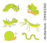 green insect icon set. mantis... | Shutterstock .eps vector #1394421563