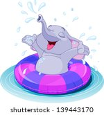 summer fun elephant swimming