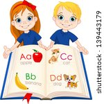 illustration two kids and abc... | Shutterstock .eps vector #139443179