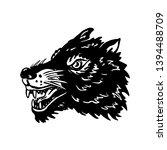 wolf head illustration on white ... | Shutterstock . vector #1394488709