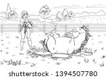 cartoon style girl with horse.... | Shutterstock .eps vector #1394507780