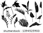 set black white tropical leaves.... | Shutterstock .eps vector #1394525903