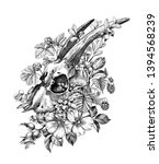 hand drawn goat skull decorated ... | Shutterstock . vector #1394568239