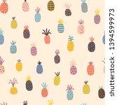 hand drawn pineapples seamless ...   Shutterstock .eps vector #1394599973