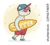 cool bear in sneaker hold... | Shutterstock .eps vector #1394674859