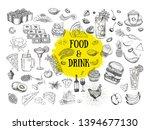set with food and drink hand...   Shutterstock . vector #1394677130