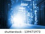 glowing blue matrix falling in...   Shutterstock . vector #139471973