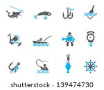 fishing icons in duo tone colors