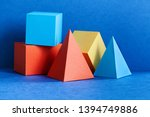 Stock photo multicolor geometrical figures still life composition three dimensional prism pyramid rectangular 1394749886