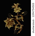 embroidery gold floral elements.... | Shutterstock .eps vector #1394754503
