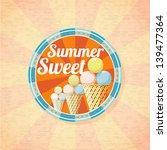 summer sweet ice cream retro...