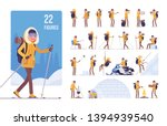 hiking winter woman character... | Shutterstock .eps vector #1394939540
