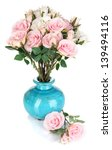 beautiful pink and white roses... | Shutterstock . vector #139494116