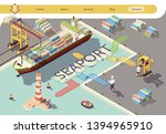 industrial seaport isometric... | Shutterstock .eps vector #1394965910