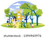 happy family planting and... | Shutterstock .eps vector #1394965976