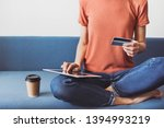 young woman using digital... | Shutterstock . vector #1394993219