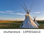 Pair of tipis on the plains of Montana, USA.