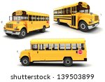 3d School Bus On White...