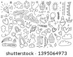 unicorn and magic doodles. cute ... | Shutterstock .eps vector #1395064973