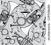 seamless pattern horns on gray... | Shutterstock . vector #139508684