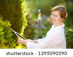 portrait of mature female... | Shutterstock . vector #1395090590