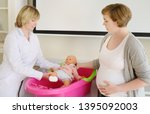pregnant woman on lesson... | Shutterstock . vector #1395092003