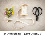 vintage style floral decor on... | Shutterstock . vector #1395098573