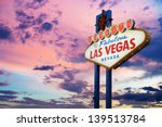 Stock photo welcome to las vegas neon sign on sunset sky 139513784