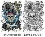 pirate jolly roger skull with... | Shutterstock . vector #1395154736