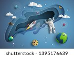 paper art style of astronaut in ... | Shutterstock .eps vector #1395176639