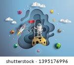 paper art style of astronaut... | Shutterstock .eps vector #1395176996