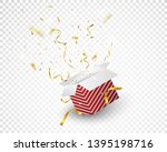 open red box with gold confetti ...   Shutterstock .eps vector #1395198716