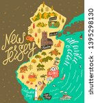 illustrated map of  new jersey  ... | Shutterstock .eps vector #1395298130