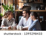 diverse friends chatting ... | Shutterstock . vector #1395298433