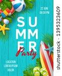 summer party vector banner... | Shutterstock .eps vector #1395323609