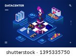 data center or centre with... | Shutterstock .eps vector #1395335750