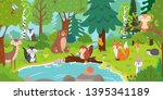 cartoon forest animals. wild... | Shutterstock .eps vector #1395341189