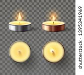 tea candle. romantic candles in ... | Shutterstock .eps vector #1395341969