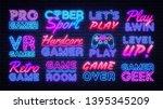 gaming neon signs set design... | Shutterstock .eps vector #1395345209