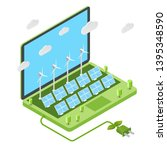 wind turbines and solar panels... | Shutterstock .eps vector #1395348590