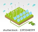 solar panel and wind turbines... | Shutterstock .eps vector #1395348599