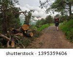 man with backpack and trekking... | Shutterstock . vector #1395359606