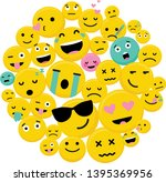 circle of emojis showing... | Shutterstock .eps vector #1395369956