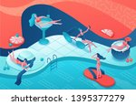 pool party isometric 3d... | Shutterstock .eps vector #1395377279