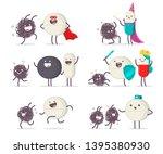 medical tablet  pills and virus ... | Shutterstock .eps vector #1395380930