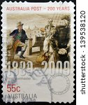 Small photo of AUSTRALIA - CIRCA 2009 : a stamp printed in Australia dedicated to first postmaster, australia post 200 years, circa 2009