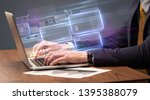 hand typing on laptop with... | Shutterstock . vector #1395388079