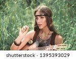 close up. portrait of beautiful ... | Shutterstock . vector #1395393029