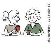 cute girlfriends talking and... | Shutterstock .eps vector #1395400463