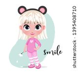 cute little girl character in...   Shutterstock .eps vector #1395408710
